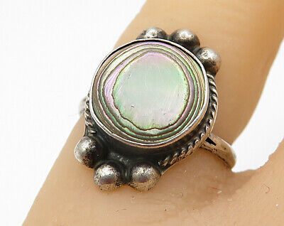 925 Silver Vintage Colorful Mother Of Pearl Mosaic Ring Sz 9 R4084