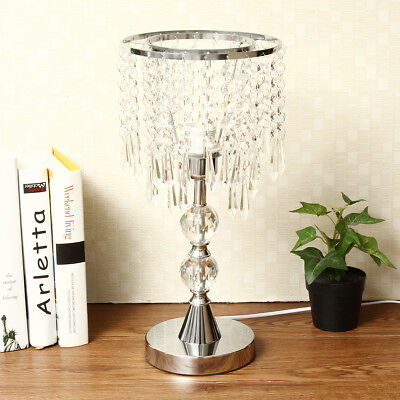 2 Tier Chandelier Crystal Table Lamp Bedside Modern Light Stainless Steel Base