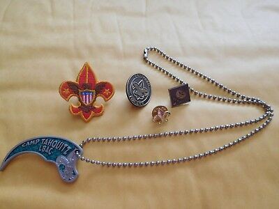 BSA necklace Long Beach Area Council Camp Tahquitz LBAC & 4 Boy Scout Pins