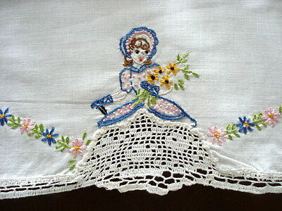 "Vintage Dresser Scarf 16"" x 36""~Southern Belle Embroidery~White Lace Trim"
