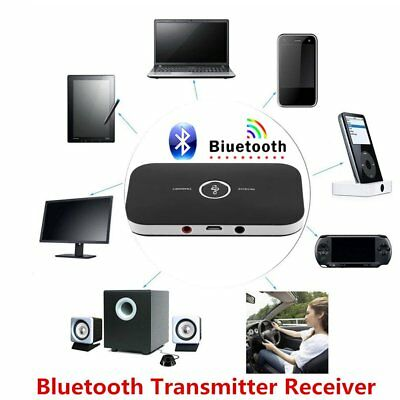 2 In 1 Wireless Stereo Audio Bluetooth Transmitter Receiver Adapter Black LOT JU