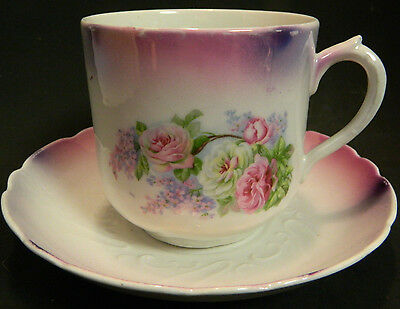 Antique Large Hand Painted Embossed Tea Cup & Saucer Germany Excellent Condition