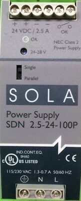 SOLA SDN 2.5-24-100P POWER SUPPLY 115/230 VAC 1.3-0.7 AMP 50/60 Hz 24VDC 2.5 AMP