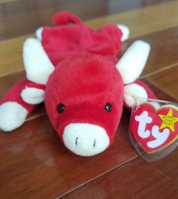 3f0ecd753a1 TY Beanie Baby SNORT Bull 1995 RETIRED EXTREMELY RARE  4002 ALL ERRORS
