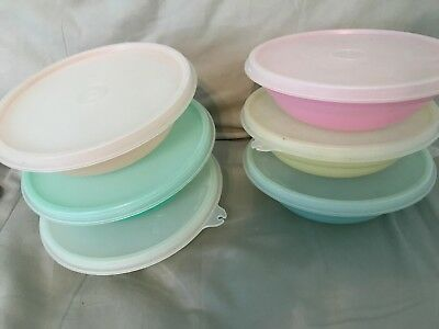 """TUPPERWARE Pastel Cereal Bowls with lids Vintage Lot Of 6 """"C"""" Seals"""
