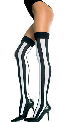 One Size Fits Most Womens Opaque Vertical Striped Thigh Highs, Black And White