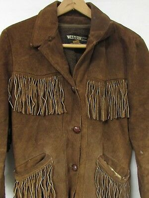 Vintage Western Outdoor Wear 70s Suede Leather Jacket Coat Fringe Sears Small
