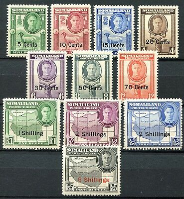Somaliland 1951 New Currency, SG 125 - 135, Mint Hinged & Never Hinged, CV £55