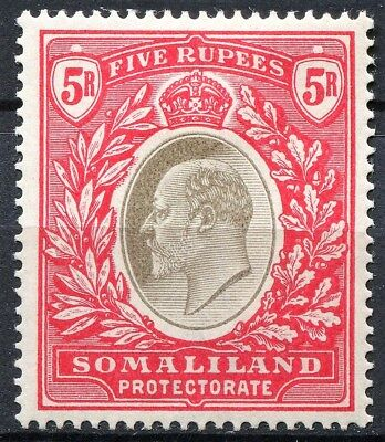 Somaliland 1904 issue, SG 44, 5r Grey Black & Red, Mint Hinged, CV £70
