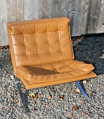 Vintage Barcelona Style Lounge Chair Mid Century Modern KNOLL / BAUGHMAN ERA