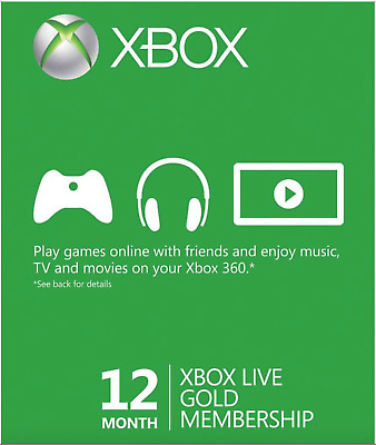 Microsoft X box LIVE 12 Month Gold Membership 360 / ONE Fast Email Delivery