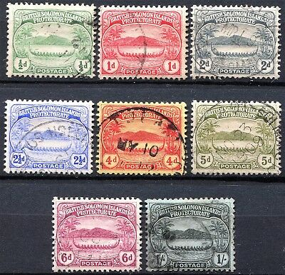Solomon Islands 1908 Small Canoes, SG 8 - 14, used, Cat £30