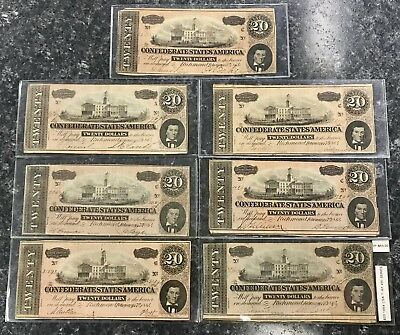 Lot Of (7) 1864 $20 Confederate States Of America Csa Notes G-Vf Condition! Nr!