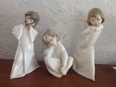 Lladro set of 3 Angel Dreaming , Mime , Curious