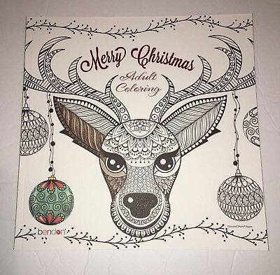 New Bendon Merry Christmas Adult Coloring Book 32 10x10 Tear Out
