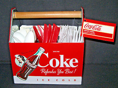 Coca Cola Utensil Napkin Holder Caddy Galvanized Tin