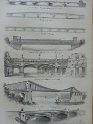 Antique Print Dated 1880 Bridge Engraving Blackfriars London Waterloo Bridge