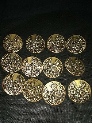 12 Matching Metal Floral Antique Buttons Victorian Pairs ?Brass 1 Inch diameters