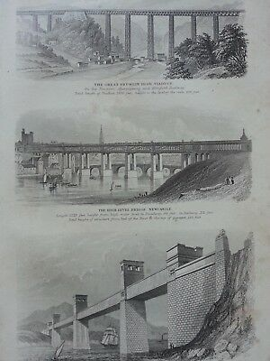 Antique Print Dated 1880 Bridge Engraving Highl Level Bridge Newcastle Britannia