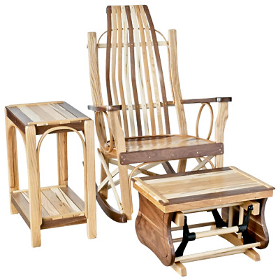 Rustic Flat Arm Rocker, Side Table & Gliding Ottoman-Exotic Woods in Clear Stain