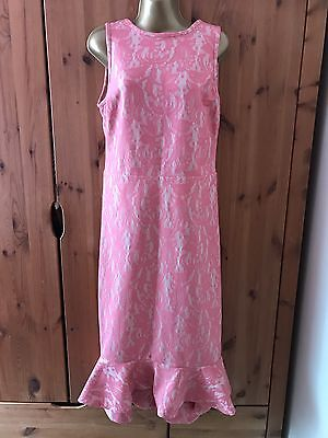 Vintage LJS Bespoke Lace Pink/Cream Full Length Wedding Party/Prom Dress 14