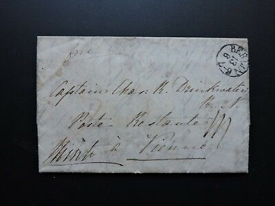 1830s GERMANY STAMPLESS LETTER EARL MINTO FREE FRANK ! GB NAVY CAPT DRINKWATER !