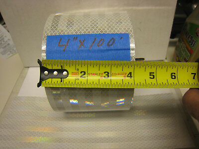 """SILVER WHITE  Reflective Conspicuity  Tape 4"""" x 100 feet lined"""