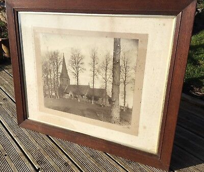 Very Large Oak Frame and Glass + Antique Print-  Church- Country House- Antique