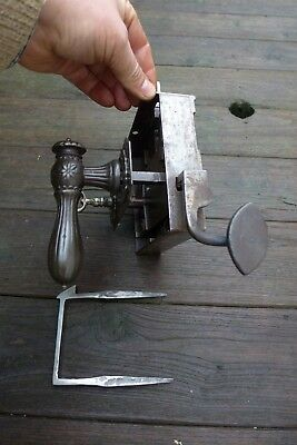 Vintage, antique beautiful large metal door lock with key handle working order A