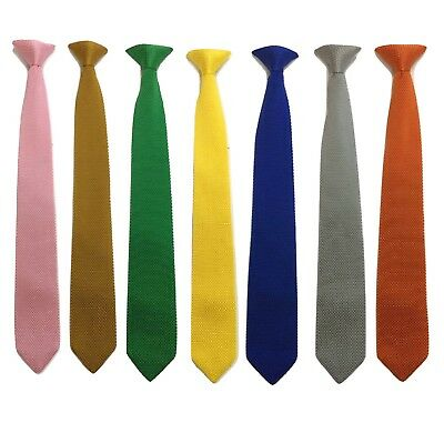 Smart Men's Clip On Knit Knitted Tie Slim Woven Silky Pointed Bottom UK