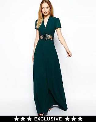Jarlo Kelly Green Party Wedding Evening Maxi Dress Size Uk8 Eu36 Us4 Rrp £85