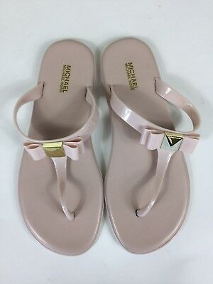 a284efa3f NEW MICHAEL KORS CAROLINE JELLY THONG SANDALS PVC Soft Pink Gold Mercer Logo