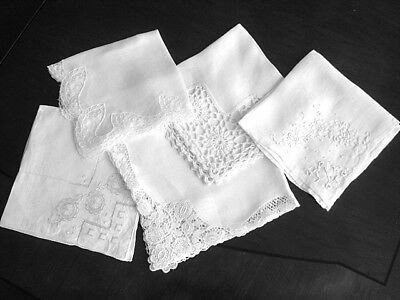 Fabulous LOT/5 WHITE Bridal HANKIES~Varied Lace Trims~Embroidery~Drawn Work