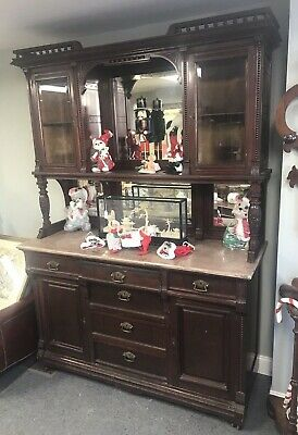 Vintage Antique Victorian Mahogany Mirrored Curio Topped Sideboard W Marble Top