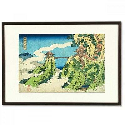 Hokusai Woodblock Print-cloud Bridge at Mt. Gyodo-A famous Japanese bridge view