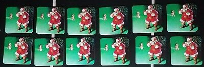 Lot 12 COCA COLA Coke drink COASTER Vintage Santa 1990s Holiday CHRISTMAS Cork