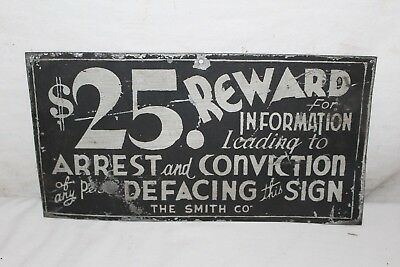 Vintage 1930's $25 Reward For Defacing Sign Metal For Gas Station Billboard