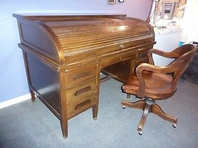 Antique Roll Top Desk w/ Chair  circa approx. mid 1920's