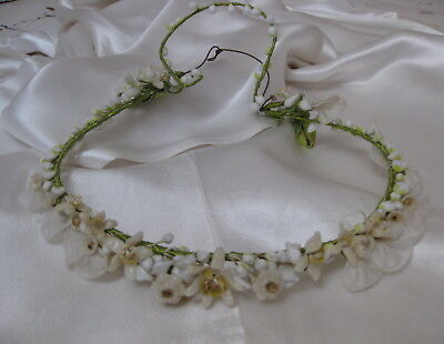 Vtg 1930s 40s wax flower garland tiara wedding crown bridal headdress headband