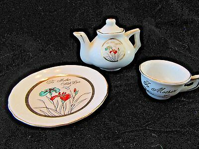 Vintage Miniature Porcelain Teacup, Saucer & Tea Pot Japan To Mother With Love