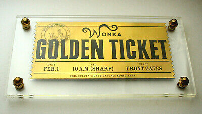 LE 2005 Willy Wonka Charlie The Chocolate Factory Movie Golden Ticket in Holder
