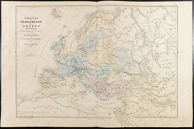 1860 - Empire Charlemagne & Arabic. Map geographical antique Schnitzler