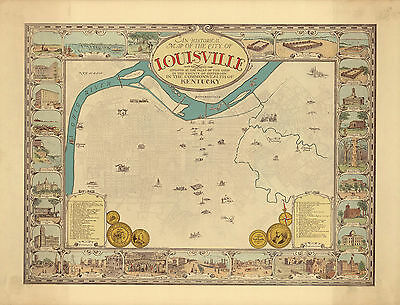 1934 Historical Pictorial Map Louisville Kentucky Wall Poster Print Genealogy