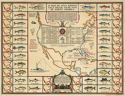 1936 Pictorial Map Known Salt Water Game Fish North America Decor Fishing Gifts
