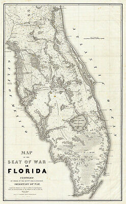 1838 Map Of The Seat Of War In Florida Military Vintage History Wall Art Poster