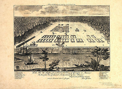 1734 Panoramic Map Savannah Georgia Wall Art Poster Print Vintage History