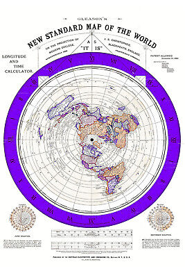 1892 Flat Earth Map - Alexander Gleason's Gleason New Standard Map of the World
