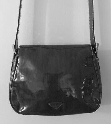 1a382f7677118 AUTHENTIC PRADA CROSSBODY Brown Patent Leather Shoulder Bag Purse