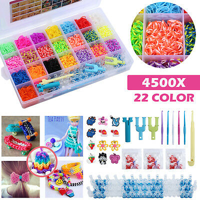 4500pcs Rainbow Colourful Rubber Loom Bands Bracelet Making Kit w/ Box For Gift