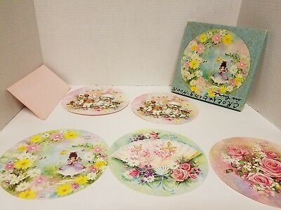 Vintage Lot of 5 Lovely All-Around all Occasion Assortment Cards w/4 Pink Envelo